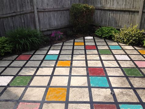 Can You Paint Patio Tiles Someday Crafts Faux Tiled Patio Can You Paint Patio Pavers