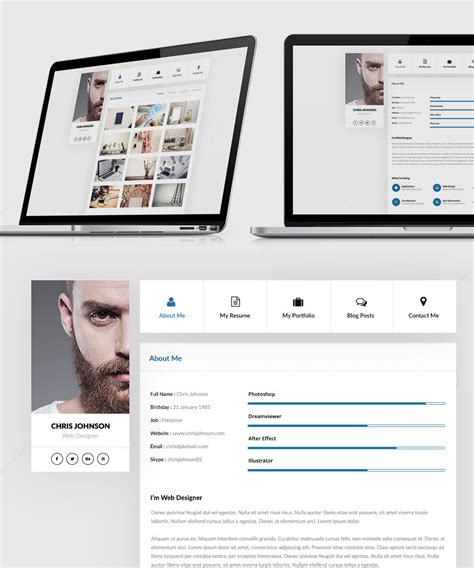 Resume Portfolio Template by Resume And Portfolio Website Templates Free Psd