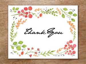 Thank You Card Template Flowers by Thank You Card Template Watercolor Flowers
