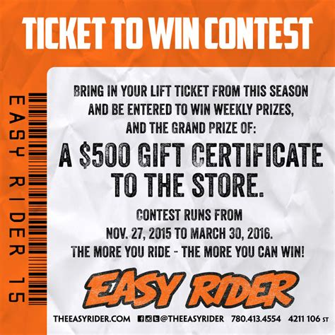 Lift Ticket Giveaway - ticket to win contest the easy rider