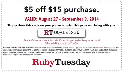 Ruby Tuesday Gift Card Balance Check - printable ruby tuesday coupons 2017 2018 best cars reviews