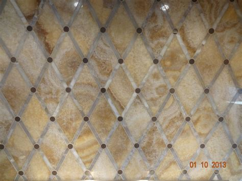 diamond pattern tile kitchen backsplash polished carmello and white onyx in a diamond