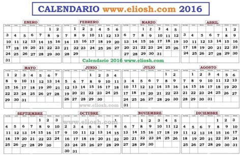 Calendario Juliano 2016 Para Imprimir * Calendar Printable