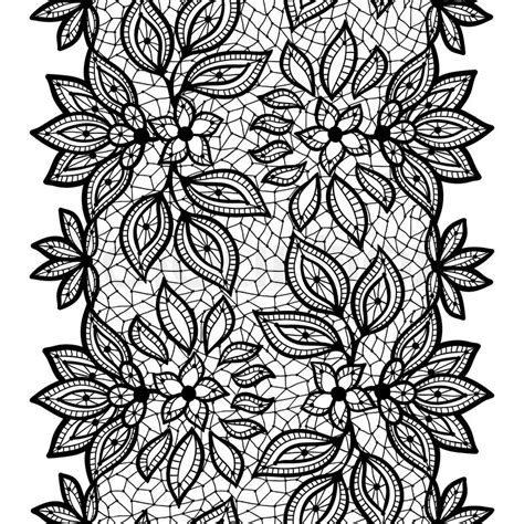 black and white pattern illustrator old lace seamless pattern ornamental border vector