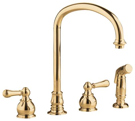 Gooseneck Faucet With Sprayer Hton Two Handle Kitchen Faucet With Gooseneck Spout And