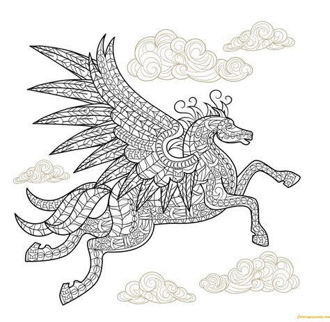 coloring pages of horses with wings pegasus winged coloring page free coloring pages