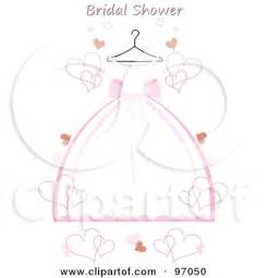 Pink and white wedding dress on a hanger with hearts and bridal shower