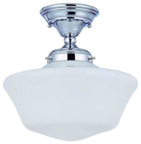 12 inch chrome schoolhouse semi flushmount ceiling light