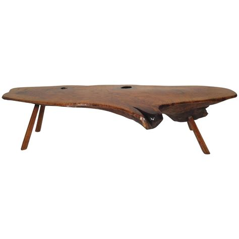 Mid Century Modern Live Edge Coffee Table For Sale At 1stdibs Live Edge Coffee Table