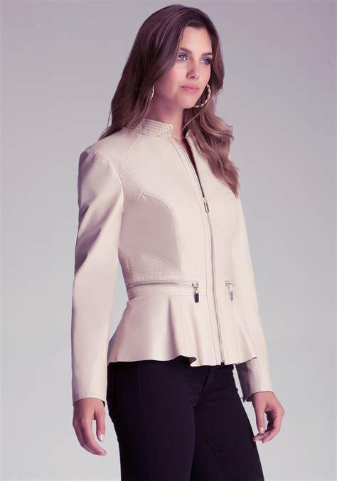 Bench Jackets Women Bebe Zipper Peplum Leather Jacket In Natural Lyst