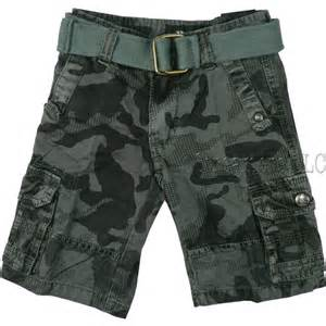 Toddler boys cargo shorts in camouflage pattern with adjustable waist