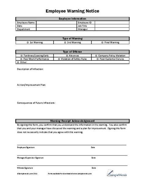 employee warning notice   document employee