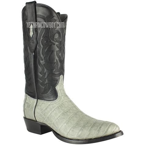 round los altos gray caiman belly boots authentic handcrafted by los altos