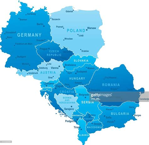 central europe map map of central europe states and cities vector getty