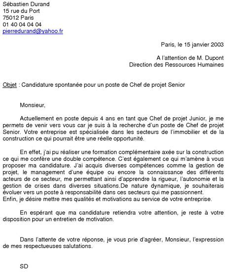 Exemple De Lettre De Motivation Candidature Spontan E Pour La Mairie exemple de candidature spontane