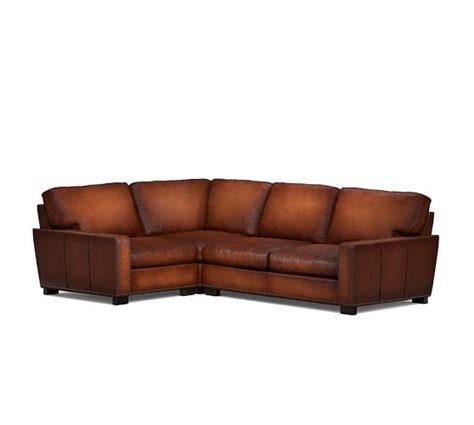 square sectional sofa turner square arm leather 3 sectional with corner