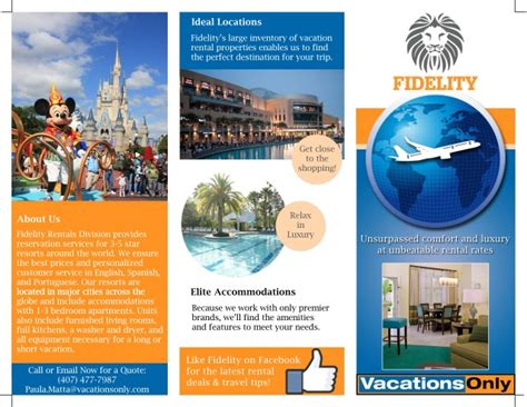 vacation brochure template fidelity vacation rentals division brochure