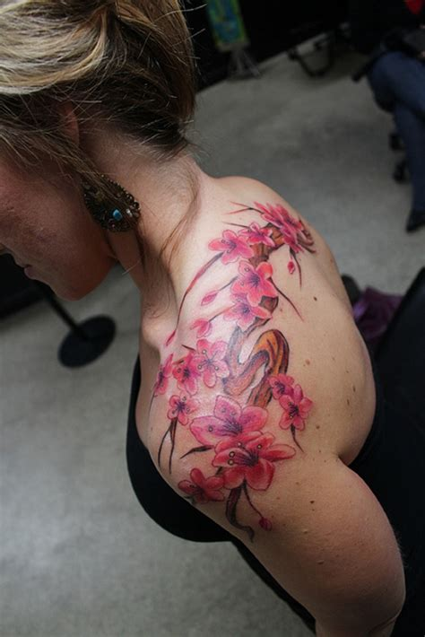 cherry blossom shoulder tattoo 50 lovely cherry blossom designs creativefan