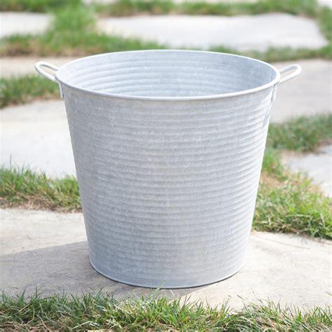 Zinc Planters by Zinc Pail Planter Outdoor Pots And