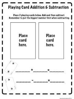 adding fractions card template card addition subtraction print out from the