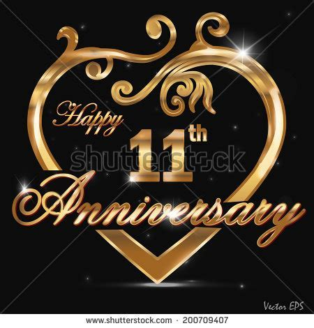 11 Year Anniversary Golden Heart 11 Th Stock Vector