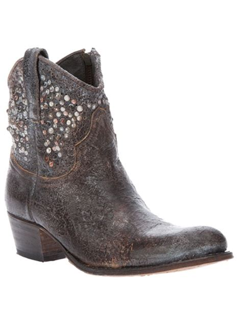frye studded boots frye studded cowboy boot in gray grey lyst