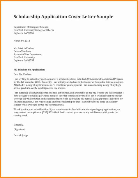Grant Application Cover Letter Sle by Application Letter For A Scholarship Grant 28 Images Application Letter For Scholarship