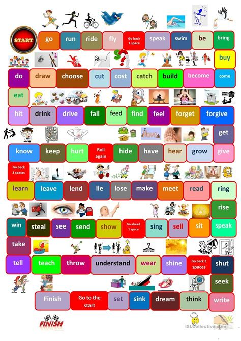printable games with the verb to be board game irregular verbs work pinterest irregular
