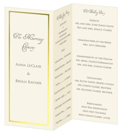 free tri fold wedding program template foil border wedding programs print your own foil border
