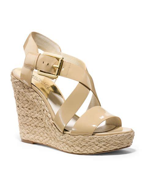 michael kors giovanna wedge sandal michael kors michael giovanna wedge sandal in beige