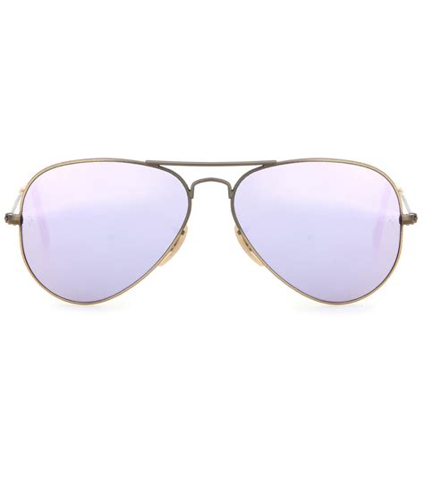 Mirrored Sunglasses ban rb3025 mirrored aviator sunglasses in purple lyst