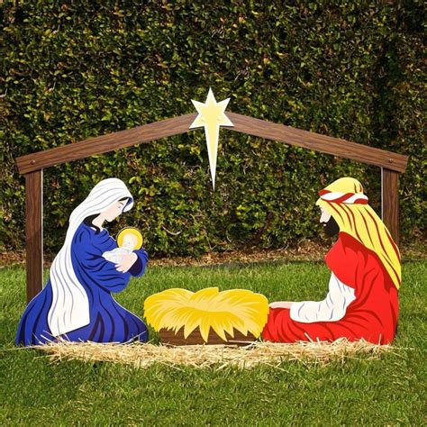christmas nativity set outdoor manger family wooden scene