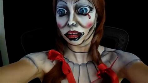 annabelle doll makeup exclusive with annabelle the doll dread central