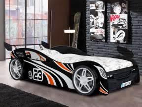 lit voiture faster 90x190 cm noir ou option matelas