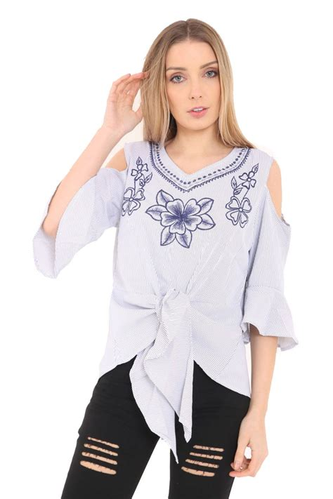 Wst 18768 Embroidered Bell Sleeve womens cold shoulder front tie floral
