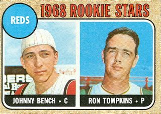 johnny bench rookie 1968 topps baseball reds rookies johnny bench ron