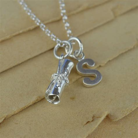 graduation charm necklace with personalised message by