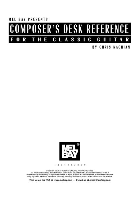 Musicians Desk Reference by Composer S Desk Reference For The Classic Guitar Sheet