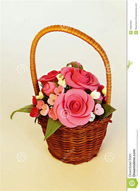 Handmade Flower Baskets - handmade basket with flowers stock photography image
