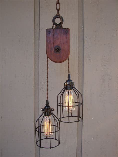 Industrial Pulley Pendant Light Industrial Wooden Pulley Pendant Light
