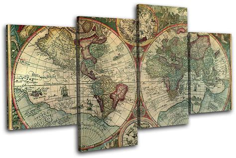 instant wall vintage map prints 45 ready to frame illustrations for your home d cor books world atlas maps flags 80x45cm multi canvas wall