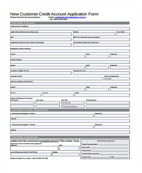 Form Credit Application Customer 27 Sle Credit Application Forms
