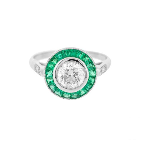 deco style emerald halo ring