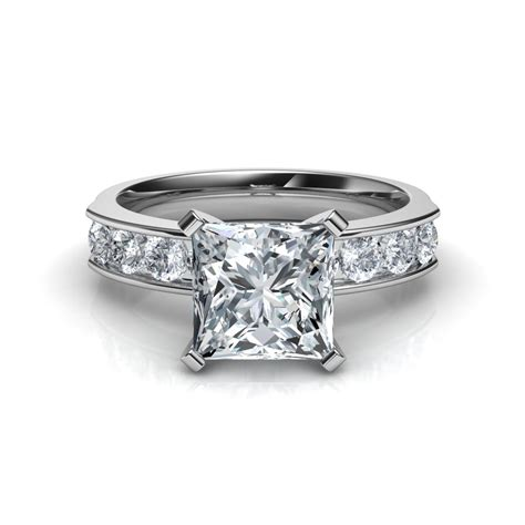 channel set princess cut diamond engagement ring natalie