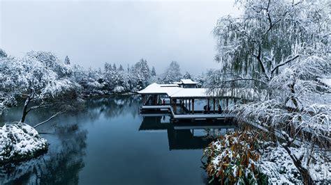 wallpaper china hangzhou park snow trees lake people