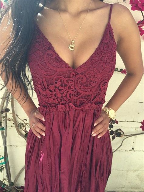 Pevita Dress Maroon Belt wine plain lace spliced open back condole belt draped v neck maxi dress fashionista