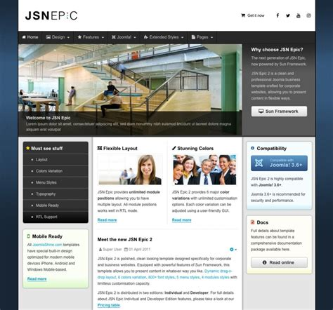 jsn templates jsn epic 2 joomla template for business corporate websites