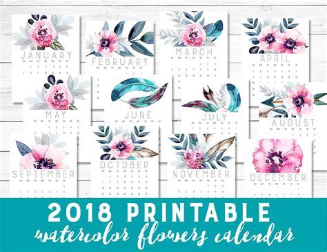 printable calendar with flowers printable 2018 calendar watercolor flowers pastel