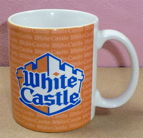 birdsvintageemporium starbucks white open handle set of orange blue white castle hamburger restaurant fast food