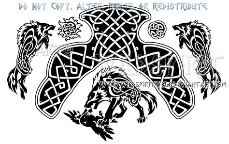 traditional tattoo wolfhat wolf border fate of the gods ragnarok knotwork design by
